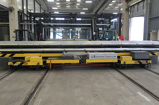 Track vertical and horizontal moving flat car